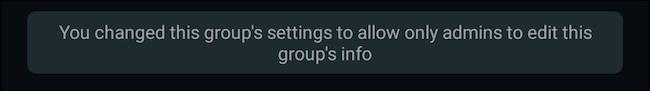 Group info edit access change WhatsApp notification