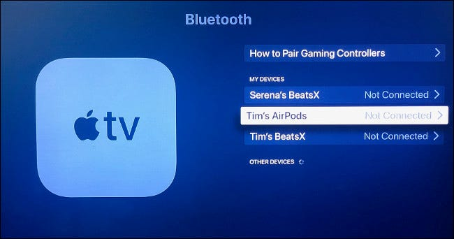 Manually pair your AirPods to your Apple TV