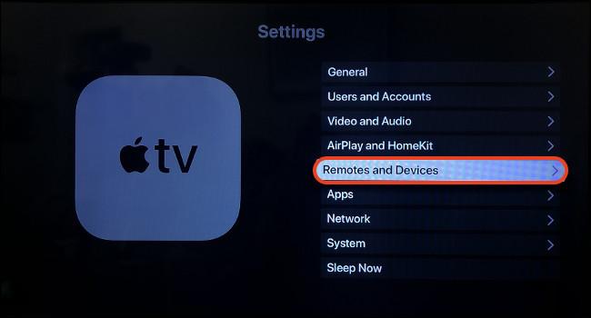 Menu Cài đặt Apple TV