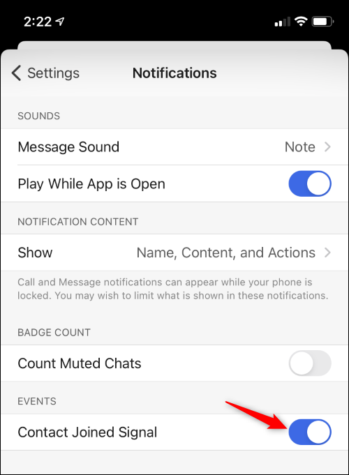 """Tap the """"Contact Joined Signal"""" toggle."""