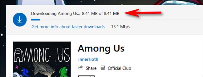 Um exemplo do indicador de andamento do download na Microsoft Store no Windows 10.
