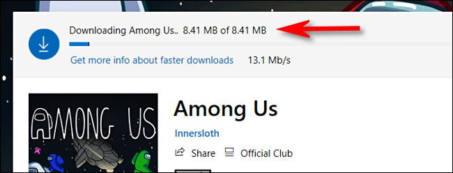 An example of the download progress indicator in the Microsoft Store on Windows 10.