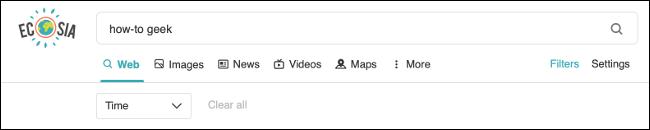 Filtry wyszukiwania Ecosia