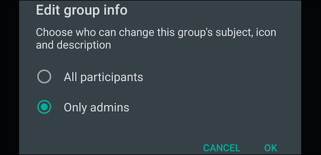 Visit Edit Group info settings on WhatsApp