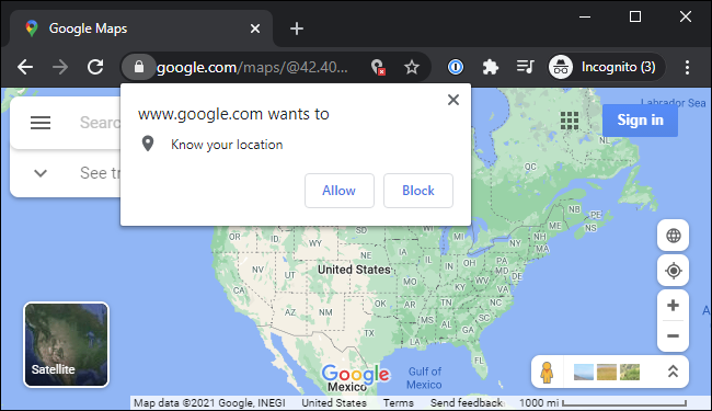 Google Maps asking for physical location access in Google Chrome on Windows 10.