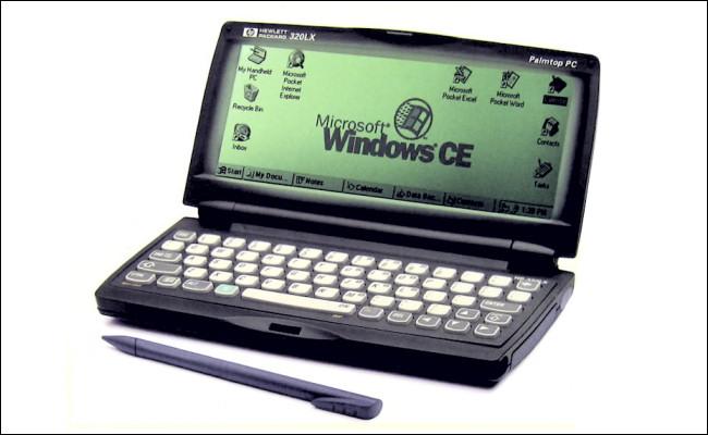 An HP 320LX handheld PC.