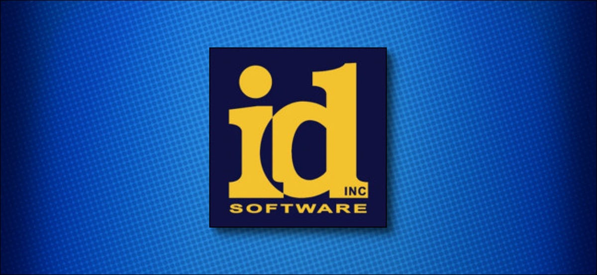 A classic id Software logo on a blue background