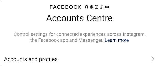 Facebook Accounts Center on Instagram