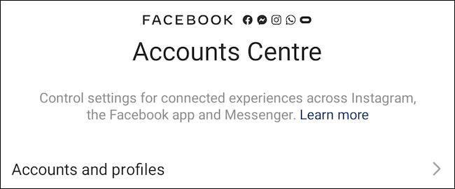 Centro de contas do Facebook no Instagram