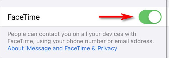 "In FaceTime settings, tap the switch beside ""FaceTime"" to turn it on."