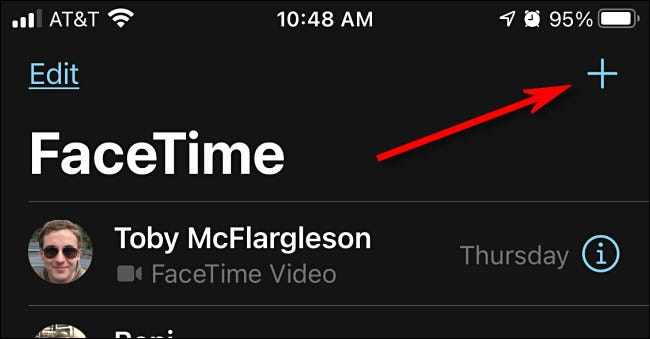 In FaceTime on iPhone, tap the plus button to start a new call.