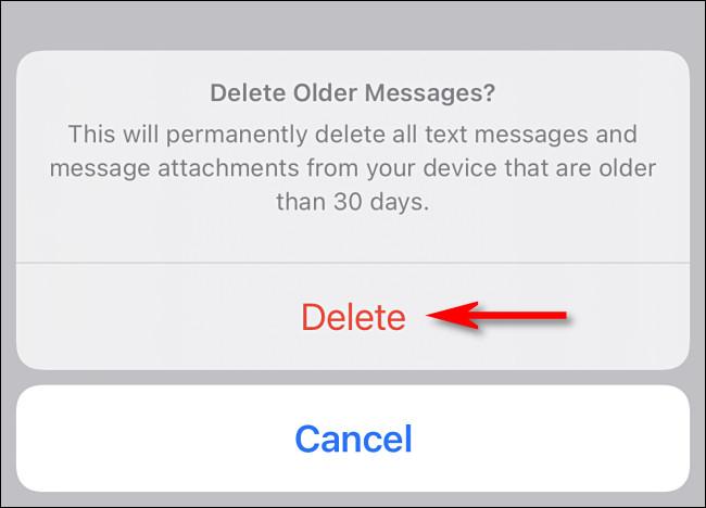 """Tocca """"Elimina"""" se desideri eliminare immediatamente i tuoi vecchi messaggi."""