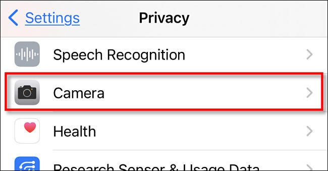 """In iPhone Privacy settings, tap """"Camera."""""""