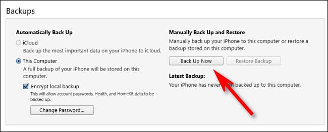 """In iTunes, click """"Back Up Now"""""""