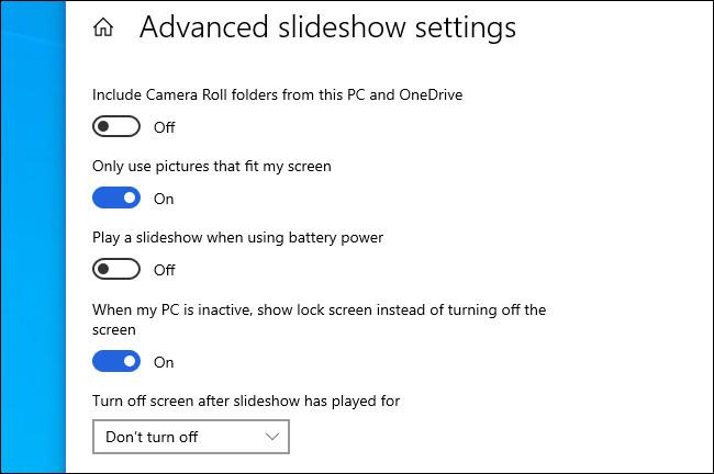 The Windows 10 advanced slideshow settings