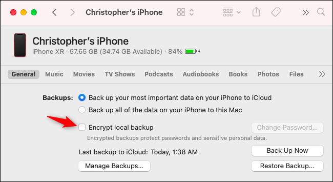 "Uncheck ""Encrypt local backup."""