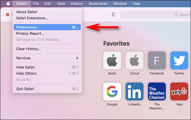 """In Safari, click the """"Safari"""" menu then select """"Preferences."""""""