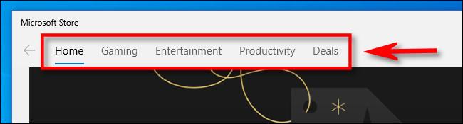 Clique em uma categoria na Microsoft Store.