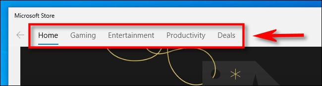 Click a category in the Microsoft Store.