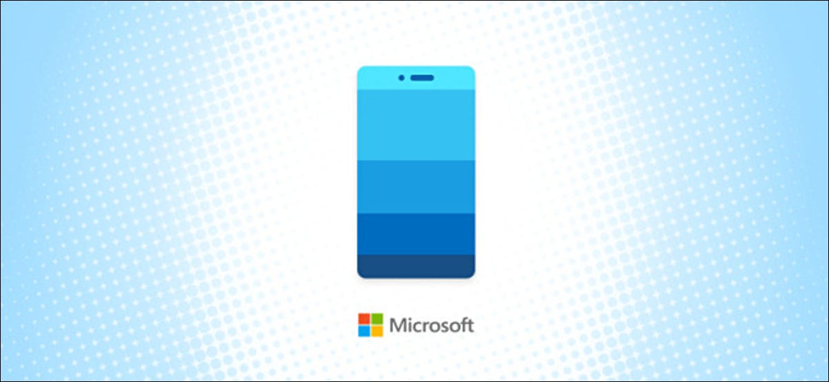 Microsoft Windows Your Phone Icon on a blue halftone background