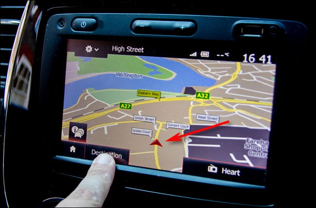 The arrowhead navigational cursor as seein in a modern in-car navigation system.
