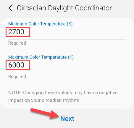 enter color temperature values
