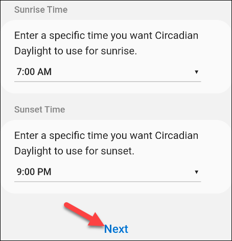 enter sunrise and sunset times