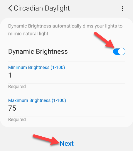 enable dynamic brightness and enter values