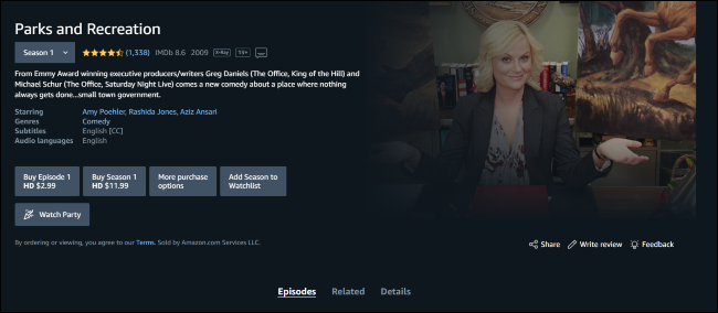 Parks and Recreation on Amazon