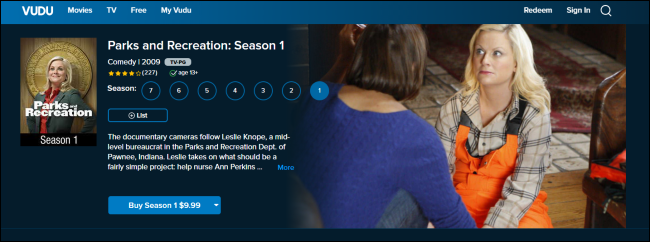 Parks and Recreation on Vudu