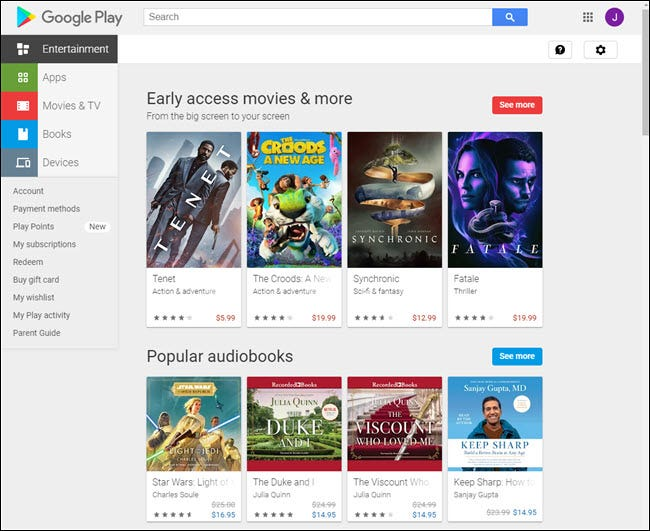 google play store on the web