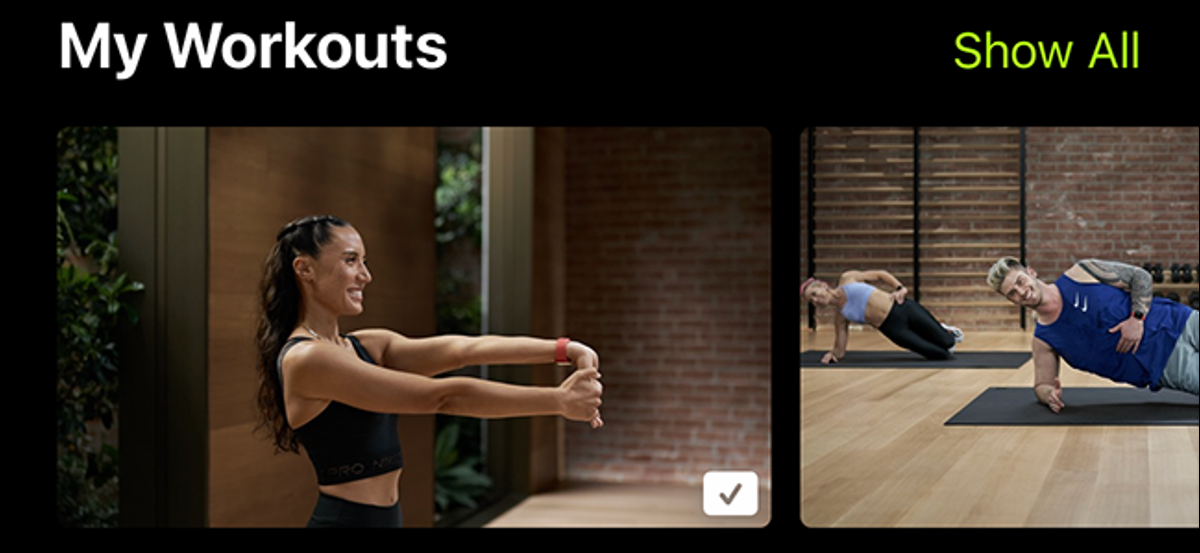 preview image showing my workouts on apple fitness+