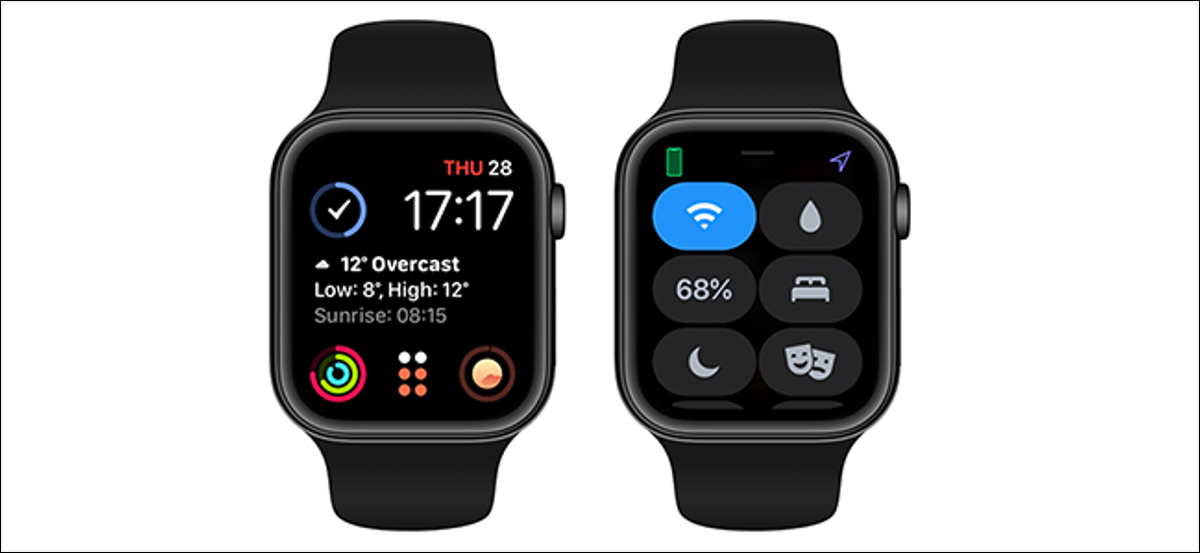 preview image showing apple watch control center