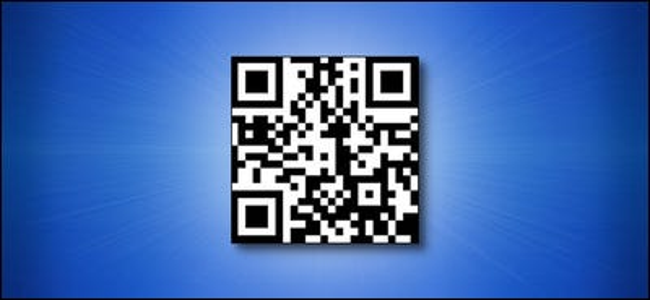 Un codice QR URL How-To Geek su sfondo blu