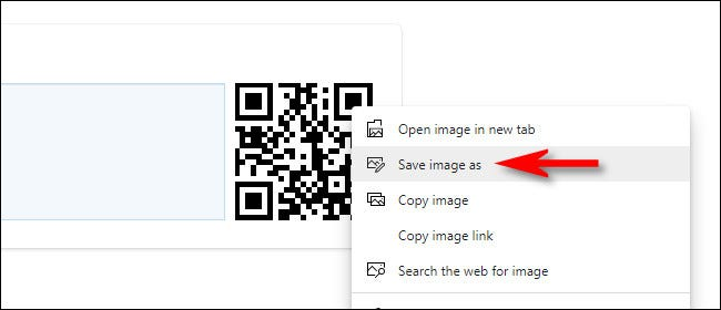 Right-click on the QR code image and select