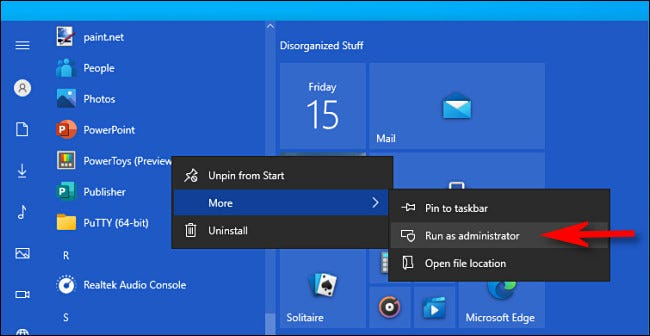 """In Windows 10, right-click an app and choose """"Run as administrator."""""""