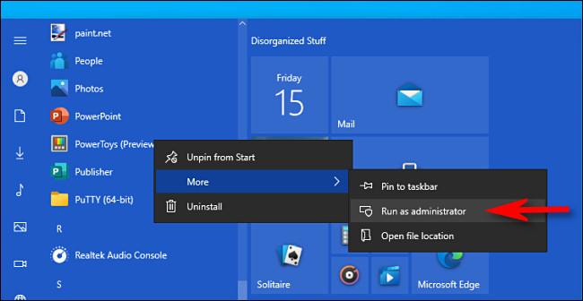 """Στα Windows 10, κάντε δεξί κλικ σε μια εφαρμογή και επιλέξτε """"Εκτέλεση ως διαχειριστής""""."""