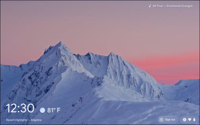 The Chrome OS screen saver on a Chromebook