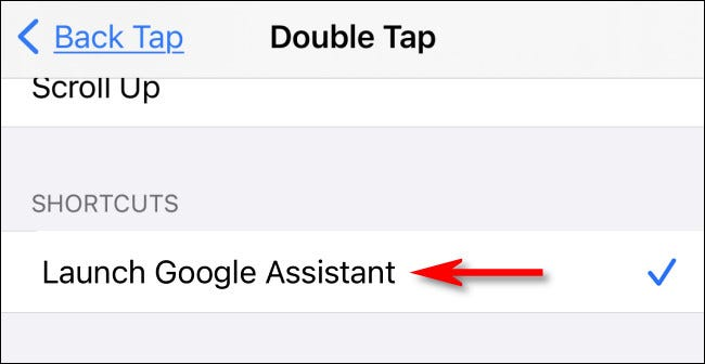 "In Back Tap settings, select the ""Launch Google Assistant"" shortcut."
