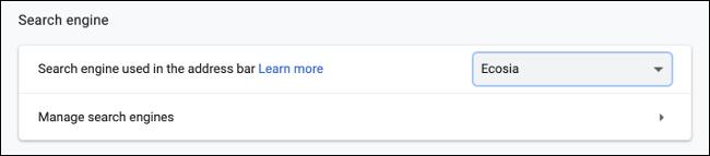 Switch to Ecosia in Google Chrome