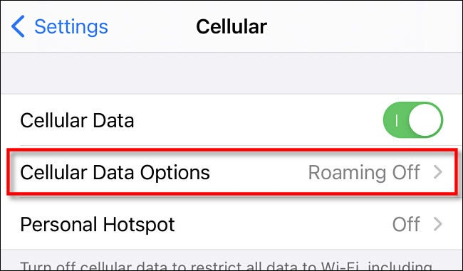 """In """"Cellular"""" on iPhone, tap """"Cellular Data Options."""""""