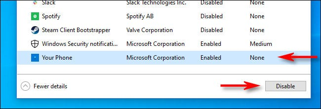 """In Task Manager, select """"Your Phone,"""" then click the """"Disable"""" button."""