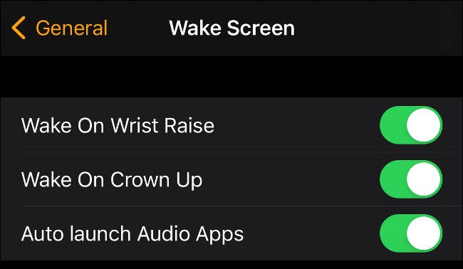 Disable Wake on Wrist Raise on Apple Watch