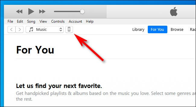 In iTunes, click the iPhone or iPad device icon in the toolbar.