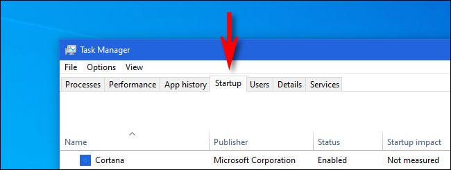 """In """"Task Manager,"""" click the """"Startup"""" tab."""