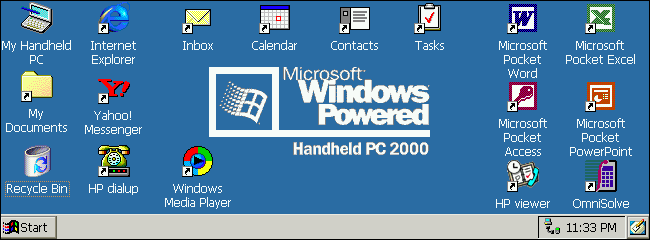 A Windows CE 3.0 desktop on a Windows HandHeld PC 2000.