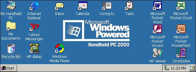 A Windows CE 3.0 desktop on a Windows HandHeld PC 2000.