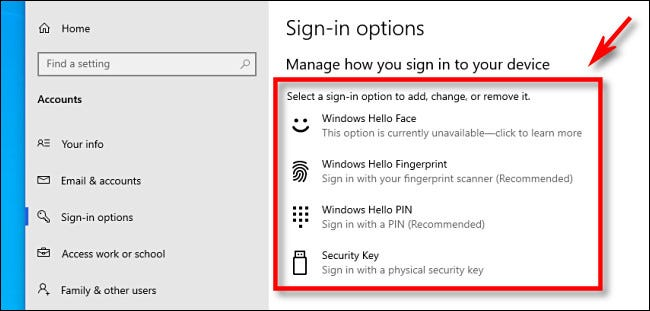Windows Hello sign-in options as seen in Windows 10 Settings.