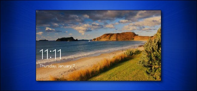 The Windows 10 Lock Screen on a blue background