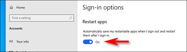 """En Opciones de inicio de sesión, haga clic en el botón junto a """"Reiniciar aplicaciones"""" para conectar."""